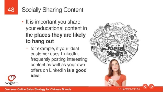 48  Socially Sharing Content  • It is important you share  your educational content in  the places they are likely  to han...