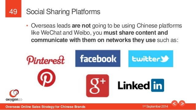49  Social Sharing Platforms  • Overseas leads are not going to be using Chinese platforms  like WeChat and Weibo, you mus...