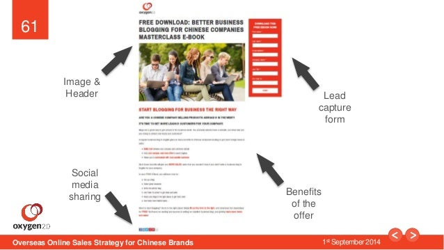 61  Image &  Header Lead  capture  form  Benefits  of the  offer  Social  media  sharing  Overseas Online Sales Strategy f...