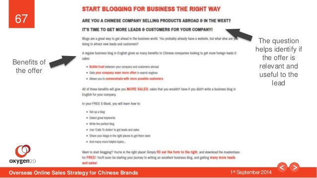 67  The question  helps identify if  the offer is  relevant and  useful to the  Overseas Online Sales Strategy for Chinese...