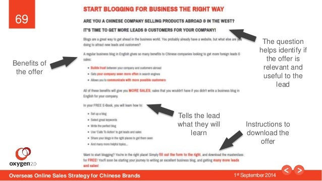 69  The question  helps identify if  the offer is  relevant and  useful to the  Overseas Online Sales Strategy for Chinese...