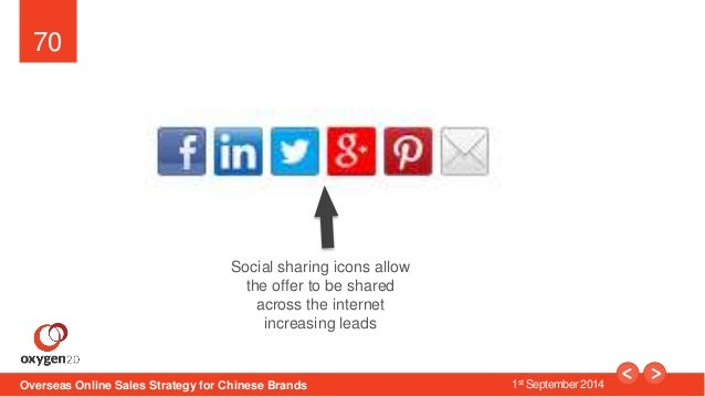 70  Social sharing icons allow  the offer to be shared  across the internet  increasing leads  Overseas Online Sales Strat...