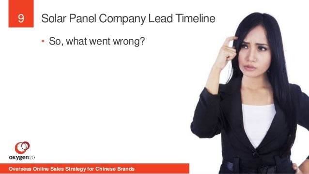 9  Solar Panel Company Lead Timeline  • So, what went wrong?  Overseas Online Sales Strategy for Chinese Brands 1st Septem...