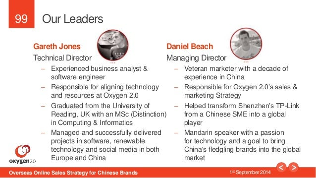 99  Our Leaders  Daniel Beach  Managing Director  – Veteran marketer with a decade of  experience in China  – Responsible ...