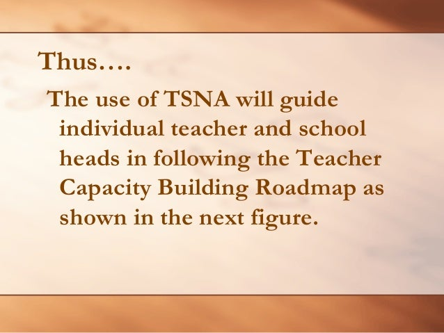 perception of teachers on the use of ncbts tsna Ncbts- tsna toolkit introduction: as a professional teacher, you are constantly interacting with people in the school and in the community strand 47 teacher demonstrates skills in the use of information and communication technology in teaching and learning.