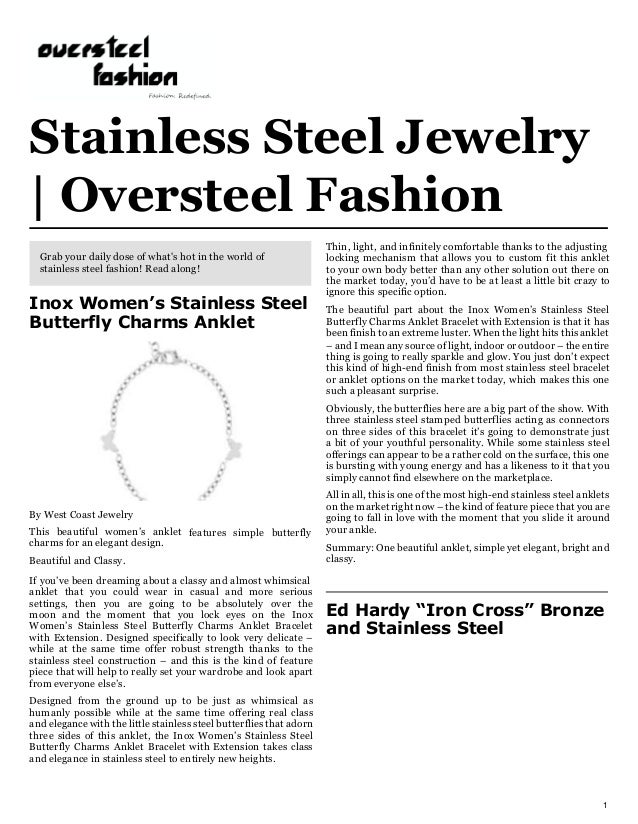Stainless Steel Jewelry   Oversteel Fashion Thin, light, and infinitely comfortable thanks to the adjusting locking mechan...