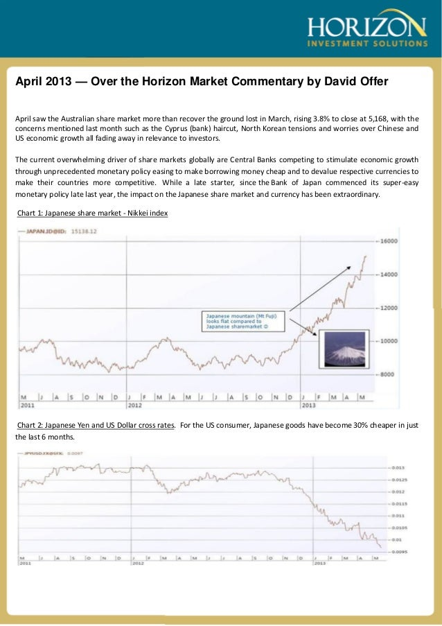 April 2013 — Over the Horizon Market Commentary by David OfferApril saw the Australian share market more than recover the ...