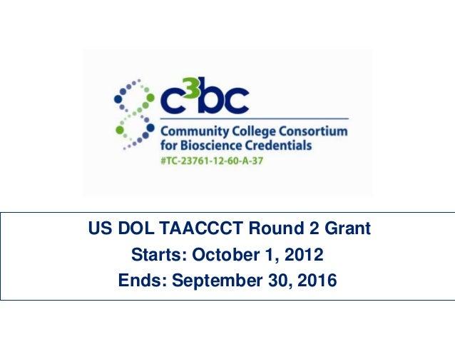 US DOL TAACCCT Round 2 GrantStarts: October 1, 2012Ends: September 30, 2016