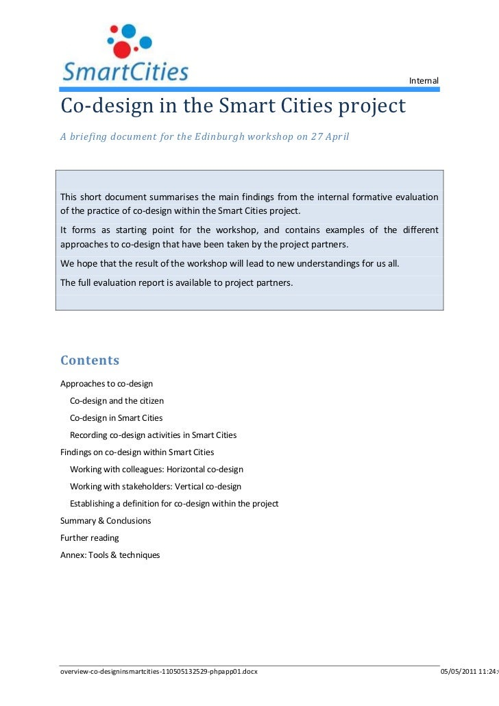 Co-design in the Smart Cities project<br />A briefing document for the Edinburgh workshop on 27 April<br />This short docu...