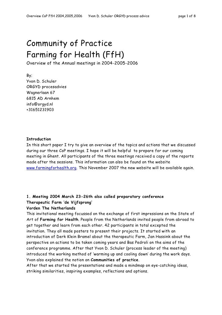 Overview of Farming for Health