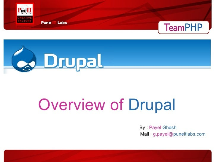 Overview of  Drupal   By :  Payel   Ghosh   Mail :  g.payel@ puneitlabs.com