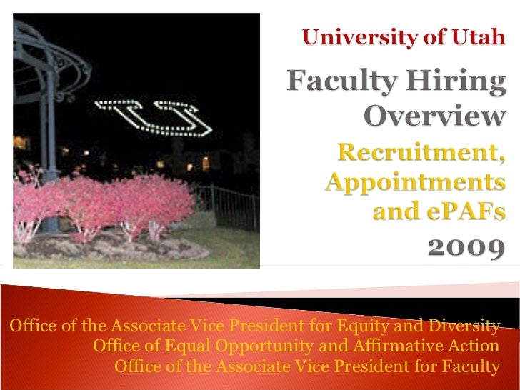 Office of the Associate Vice President for Equity and Diversity            Office of Equal Opportunity and Affirmative Act...
