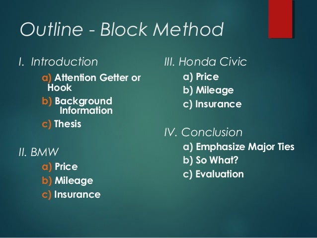 overview comparison and contrast block and point by point method  paragraph 14 outline block method