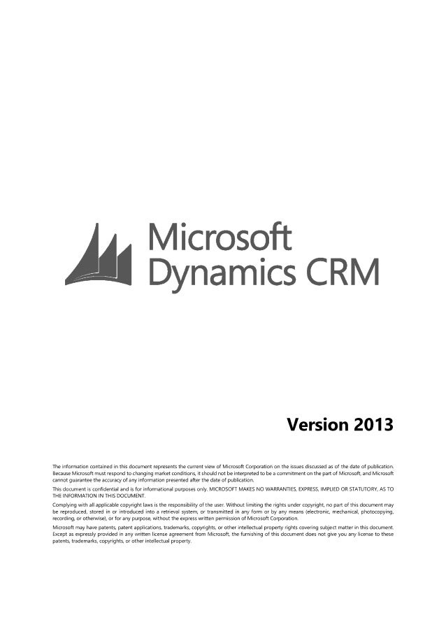 Overview Microsoft Dynamics CRM 2013