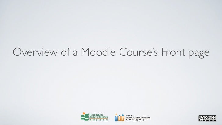 Overview of a Moodle Course's Front page