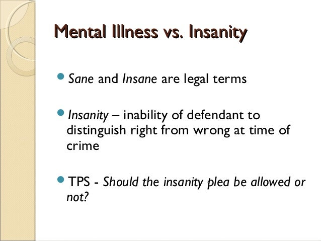 Pleading Insanity in a Criminal Case