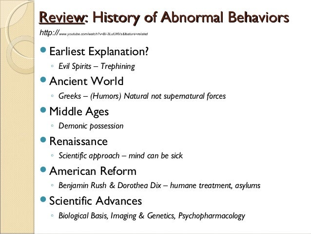 Psy 410 historical perspectives of abnormal