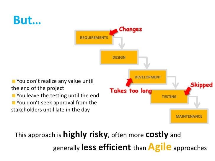 Changes<br />REQUIREMENTS<br />DESIGN<br /> You don't realize any value until the end of the project<br /> You leave the t...