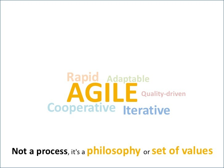 Rapid<br />Adaptable<br />AGILE<br />Quality-driven<br />Cooperative<br />Iterative<br />Not a process, it's a philosophy ...