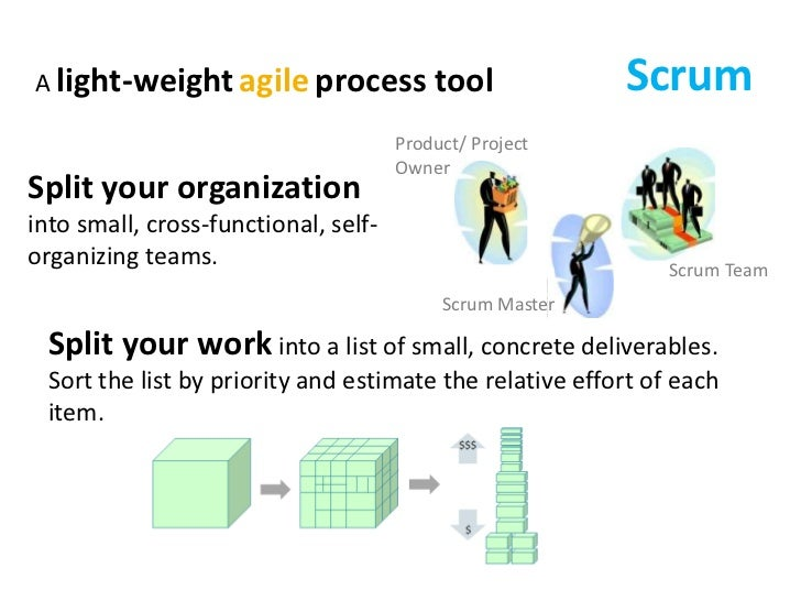 Scrum<br />A light-weightagileprocess tool<br />Product/ Project Owner<br />Split your organization into small, cross-func...