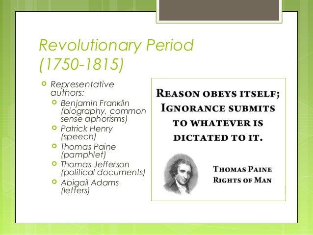 american revolutionary period literature