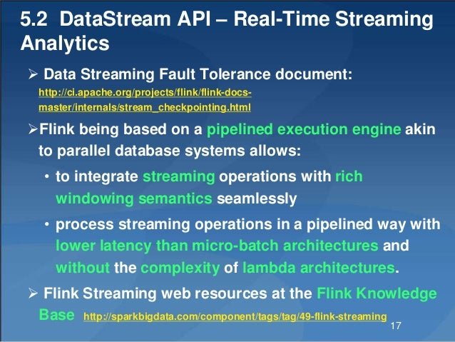 5.2 DataStream API – Real-Time Streaming Analytics  Data Streaming Fault Tolerance document: http://ci.apache.org/project...