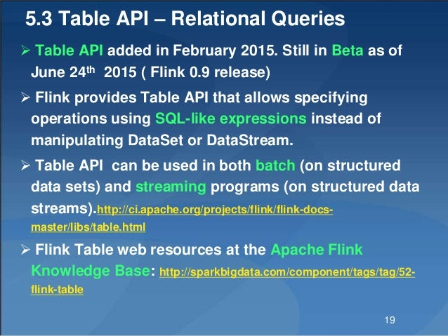 5.3 Table API – Relational Queries  Table API added in February 2015. Still in Beta as of June 24th 2015 ( Flink 0.9 rele...