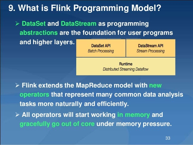 9. What is Flink Programming Model?  DataSet and DataStream as programming abstractions are the foundation for user progr...