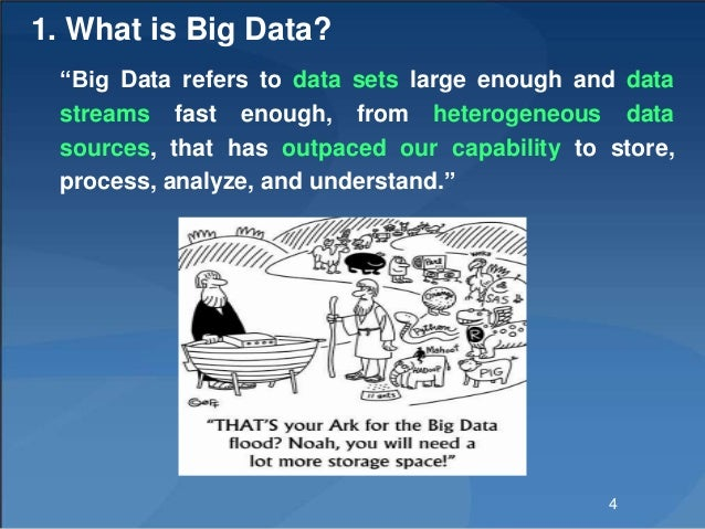"""1. What is Big Data? """"Big Data refers to data sets large enough and data streams fast enough, from heterogeneous data sour..."""