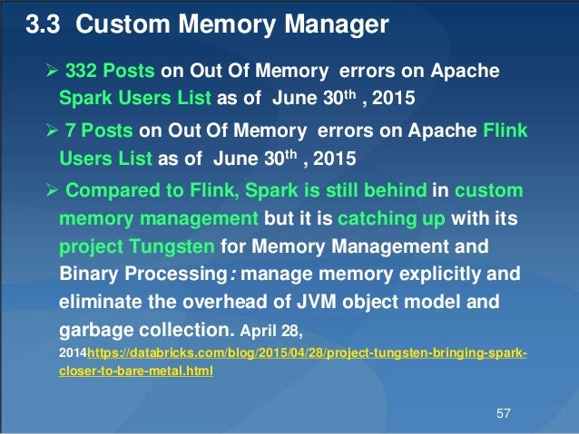3.3 Custom Memory Manager  332 Posts on Out Of Memory errors on Apache Spark Users List as of June 30th , 2015  7 Posts ...