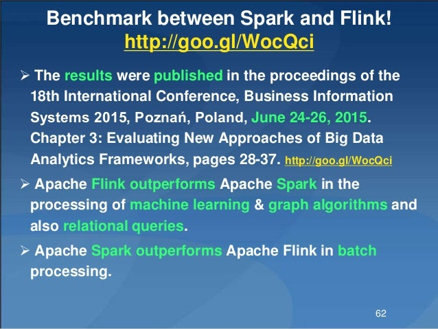 Benchmark between Spark and Flink! http://goo.gl/WocQci  The results were published in the proceedings of the 18th Intern...