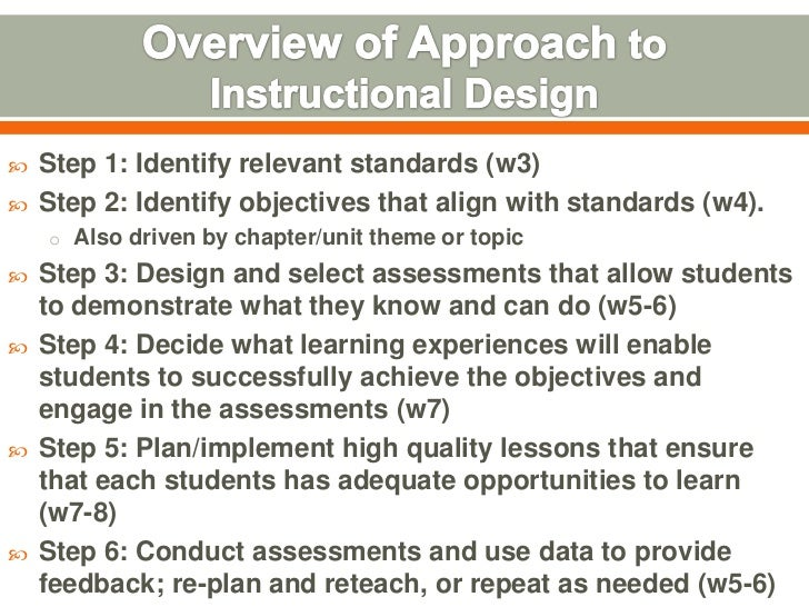    Step 1: Identify relevant standards (w3)   Step 2: Identify objectives that align with standards (w4).    o Also driv...