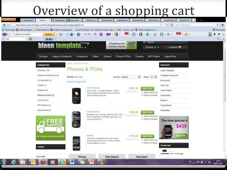 Overview of a shopping cart<br />