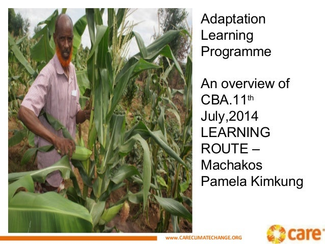 www.CARECLIMATECHANGE.ORG Adaptation Learning Programme An overview of CBA.11th July,2014 LEARNING ROUTE – Machakos Pamela...