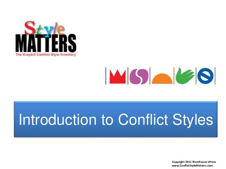Introduction to Conflict Styles<br />Copyright 2011 Riverhouse ePress<br />www.ConflictStyleMatters.com<br />