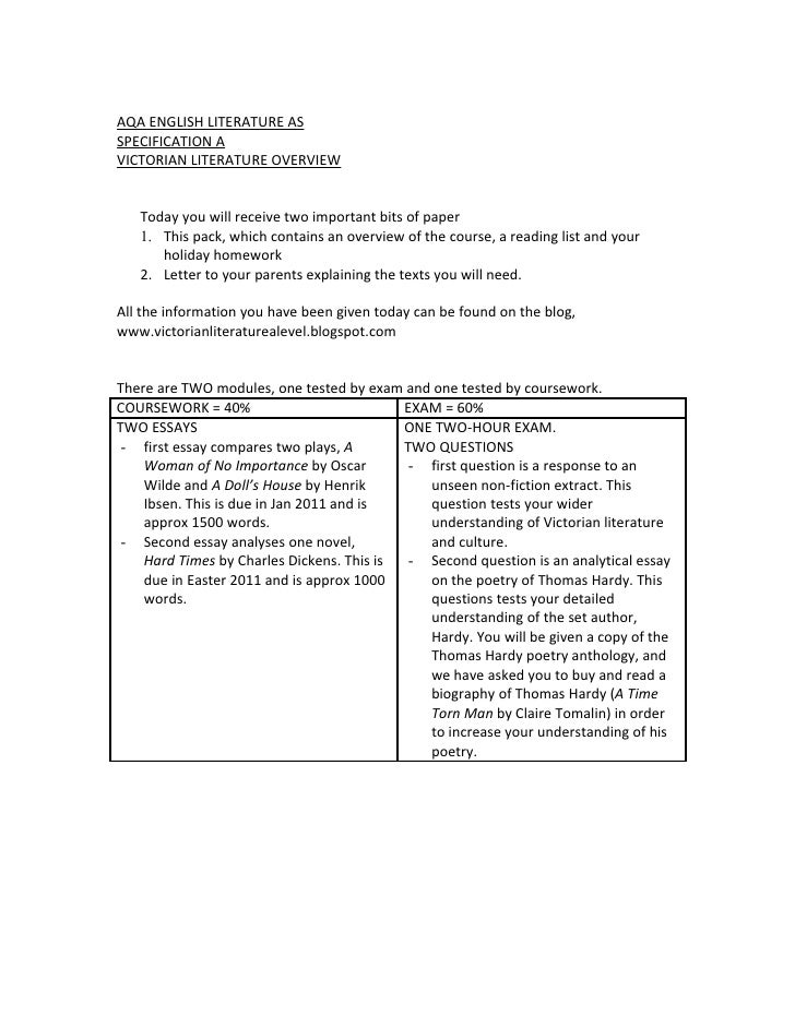 AQA ENGLISH LITERATURE AS SPECIFICATION A VICTORIAN LITERATURE OVERVIEW      Today you will receive two important bits of ...