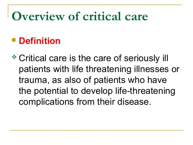 Overview of critical care
