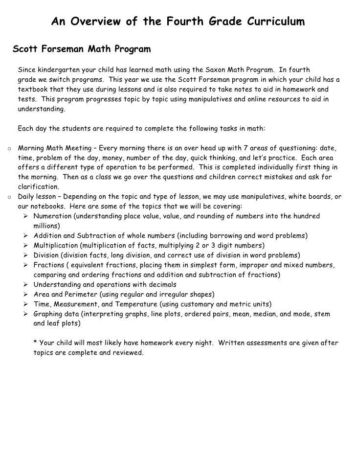 An Overview of the Fourth Grade Curriculum   Scott Forseman Math Program     Since kindergarten your child has learned mat...