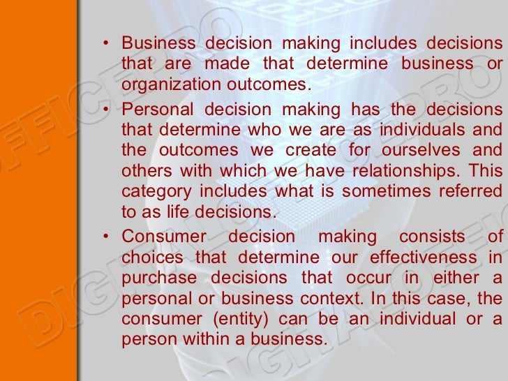 an overview of the decision making process in an organization The five key decision makers in the sales process 1 the initiator the person who decides to start the buying process: this is typically a director or svp who is tasked by their cio/cto or cfo with putting together current business challenges and get a feel for the process architecture to create requirements for a software purchase.