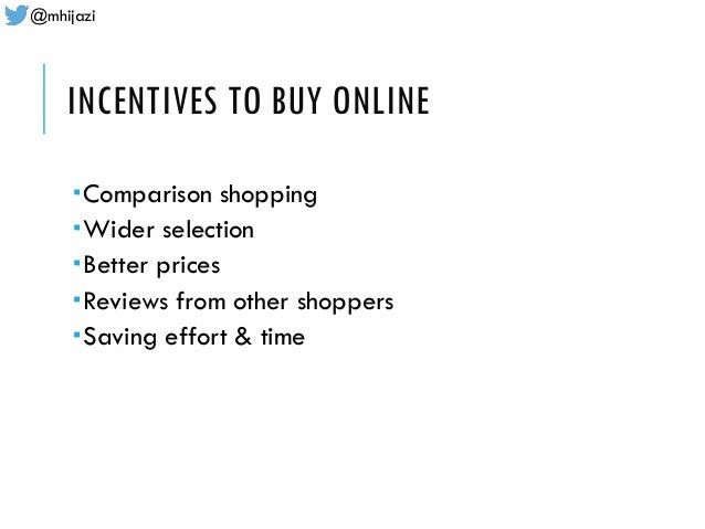 @mhijazi INCENTIVES TO BUY ONLINE Comparison shopping Wider selection Better prices Reviews from other shoppers Savin...