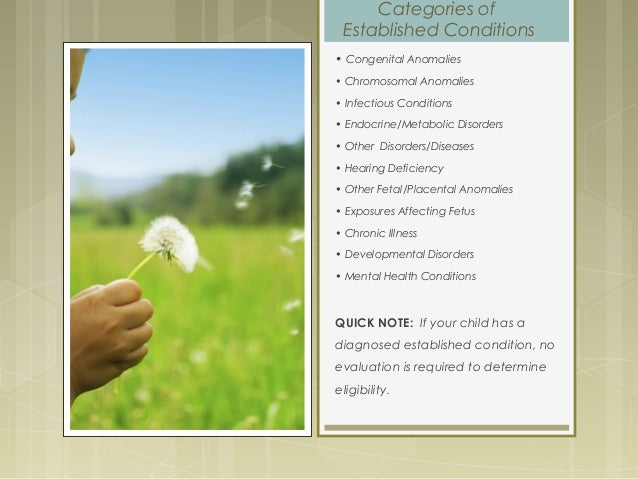 Categories of Established Conditions • Congenital Anomalies • Chromosomal Anomalies • Infectious Conditions • Endocrine/Me...