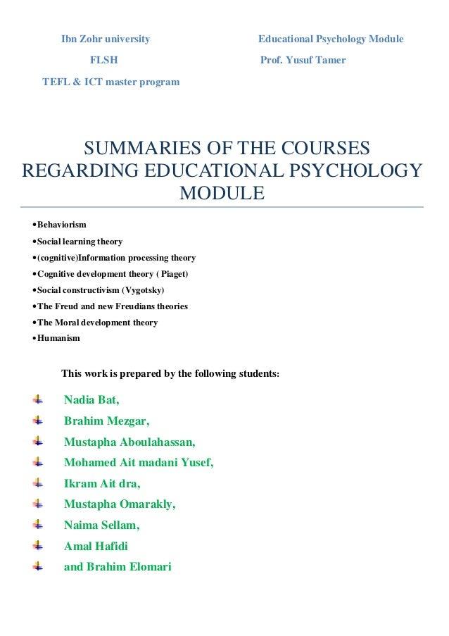 Ibn Zohr university                        Educational Psychology Module                FLSH                              ...