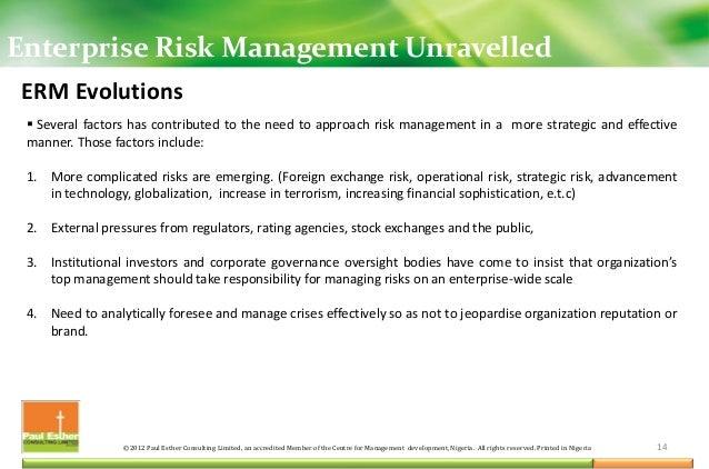 Overview of Enterprise Risk Management (ERM)