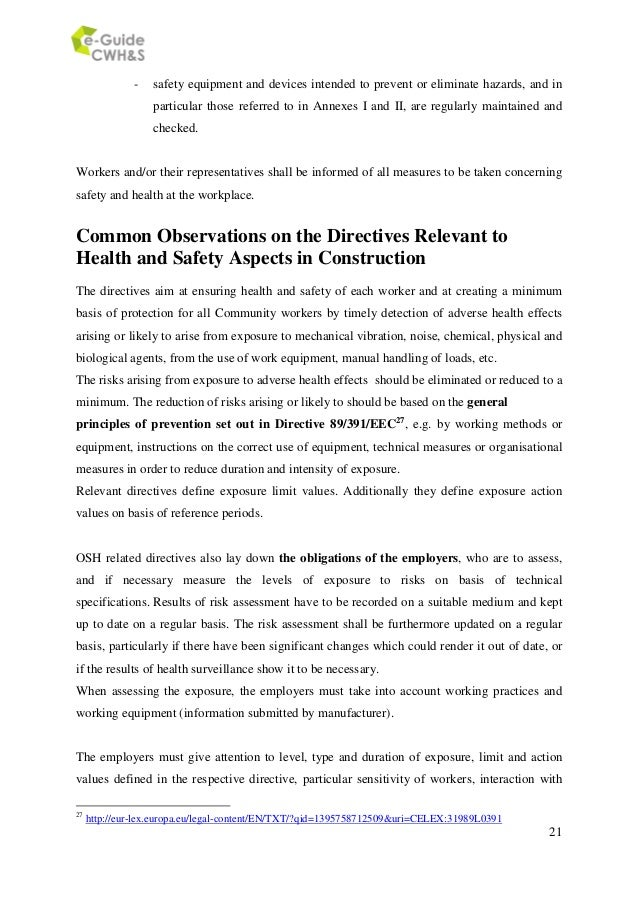 overview of eu and national legislation in construction health and sa