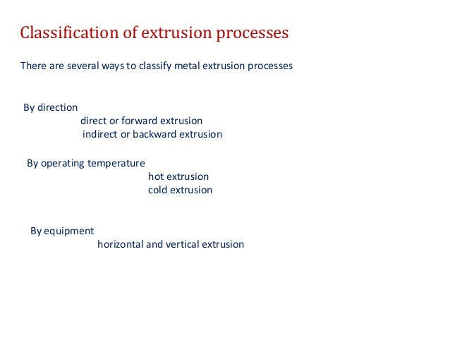 Overview of extrusion process