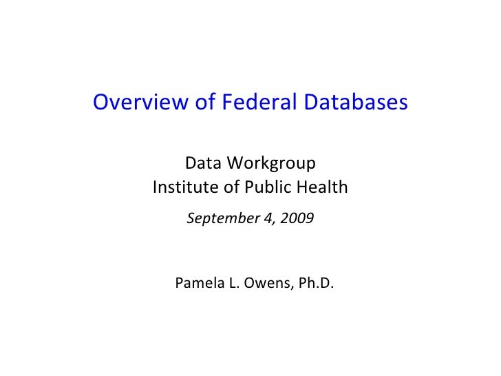 Overview of Federal Databases Data Workgroup Institute of Public Health September 4, 2009 Pamela L. Owens, Ph.D.