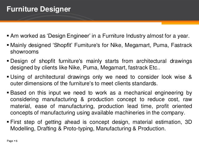 Furniture Design Engineer overview of furniture industries