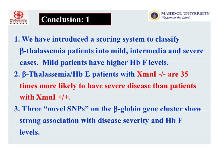 Overview of Genotypes and Phenotypes of Thalassemia in Asia