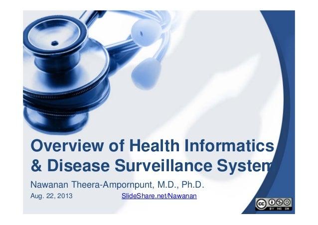 Overview of Health Informatics & Disease Surveillance System Nawanan Theera-Ampornpunt, M.D., Ph.D. Aug. 22, 2013 SlideSha...
