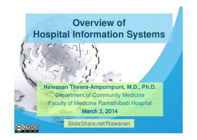 Overview of Hospital Information Systems  Nawanan Theera-Ampornpunt, M.D., Ph.D. Department of Community Medicine Faculty ...